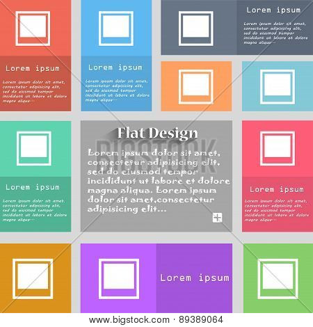 Photo Frame Template Icon Sign. Set Of Multicolored Buttons. Metro Style With Space For Text. The Lo