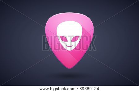 Pink Guitar Pick Icon With An Alien Face