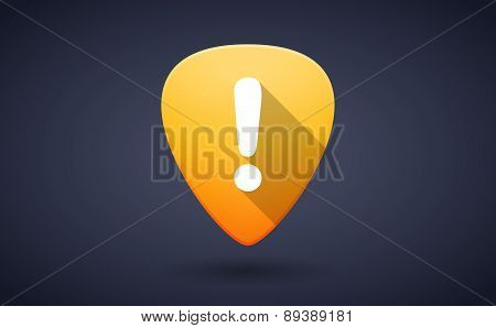 Yellow Guitar Pick Icon With An Exclamation Sign