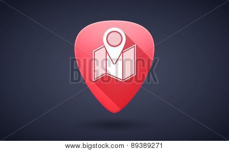Red Guitar Pick Icon With A Map