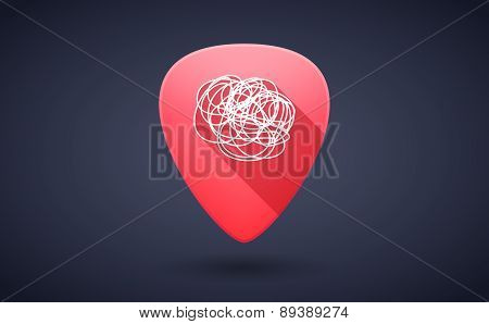 Red Guitar Pick Icon With A Doodle