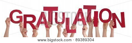 People Hold Word Gratulation Mean Congratulation