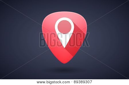 Red Guitar Pick Icon With A Map Mark