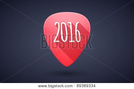 Red Guitar Pick Icon With A 2016 Year Sign