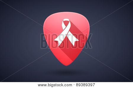 Red Guitar Pick Icon With A Social Awareness Ribbon