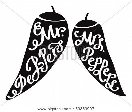 Poster with chili pepper. Lettering mr. and mrs. pepper