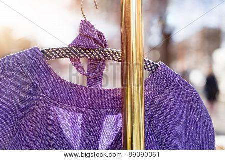 Pullover Hanging On A Wardrobe Rail On A Flea Market