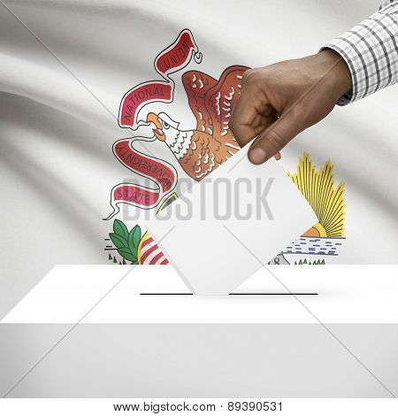 Voting Concept - Ballot Box With Us State Flag On Background - Illinois