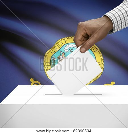 Voting Concept - Ballot Box With Us State Flag On Background - Idaho