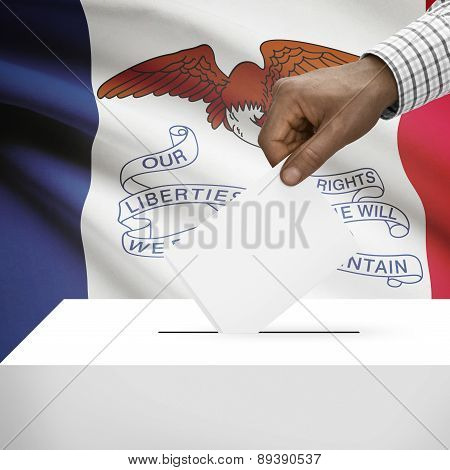 Voting Concept - Ballot Box With Us State Flag On Background - Iowa