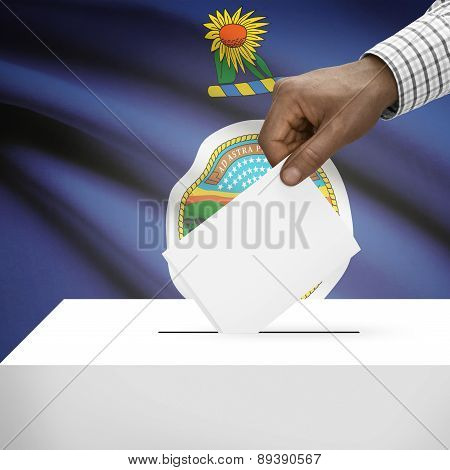 Voting Concept - Ballot Box With Us State Flag On Background - Kansas