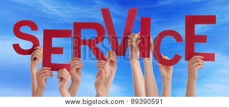 People Hands Holding Red Word Service Blue Sky