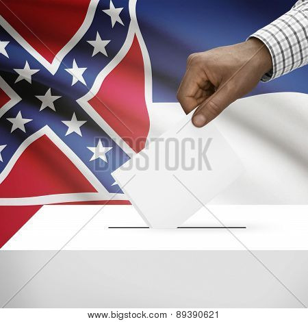 Voting Concept - Ballot Box With Us State Flag On Background - Mississippi