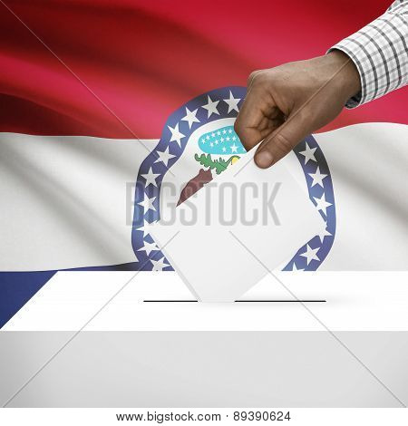 Voting Concept - Ballot Box With Us State Flag On Background - Missouri