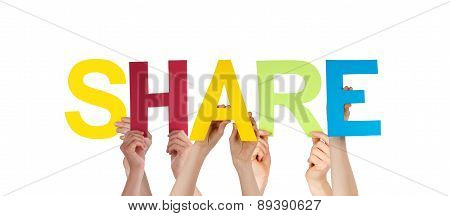 People Hands Holding Colorful Straight Word Share