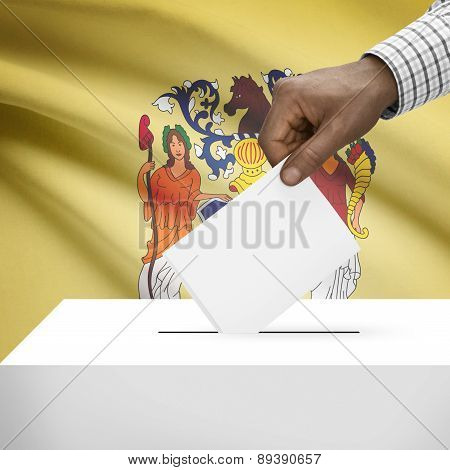 Voting Concept - Ballot Box With Us State Flag On Background - New Jersey
