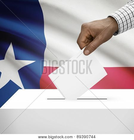 Voting Concept - Ballot Box With Us State Flag On Background - Texas