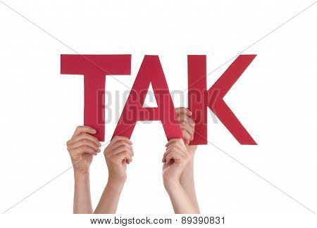 People Hold Straight Danish Word Tak Means Thanks
