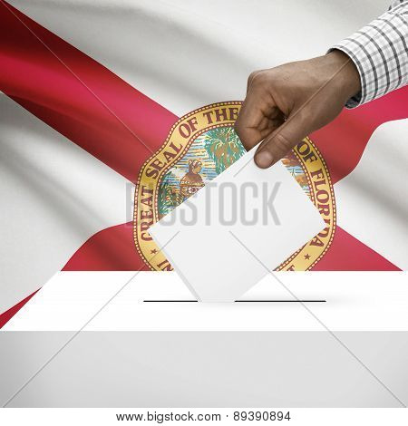 Voting Concept - Ballot Box With Us State Flag On Background - Florida