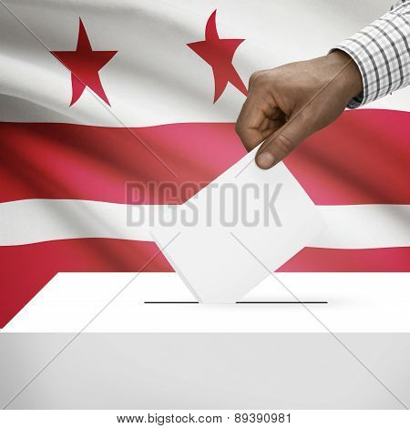 Voting Concept - Ballot Box With Us State Flag On Background - District Of Columbia - Washington, D.