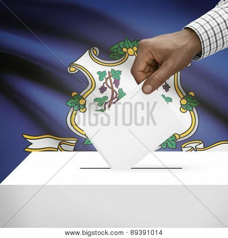 Voting Concept - Ballot Box With Us State Flag On Background - Connecticut
