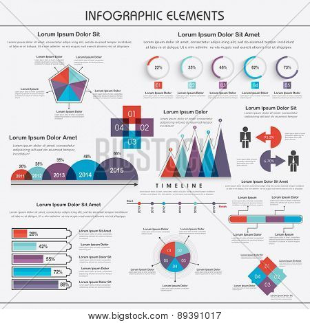 Stylish business infographic set like graphs, bars and arrows for corporate sector.