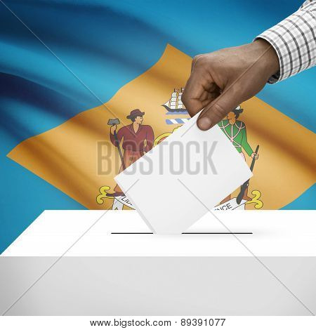 Voting Concept - Ballot Box With Us State Flag On Background - Delaware