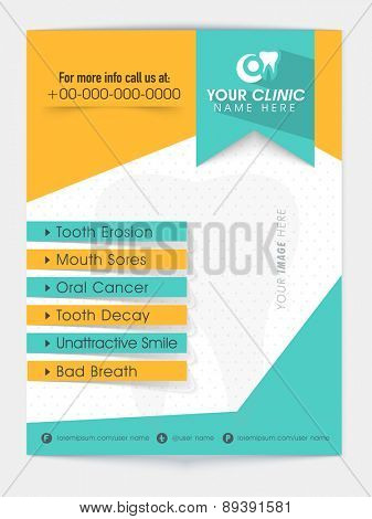 Stylish flyer with list of dental problems and place holders for image and content, can be used as template or brochure design.