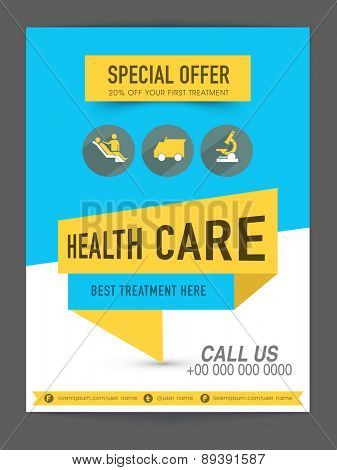 Health Care flyer presentation showing special discount offer on first treatment with medical icons.