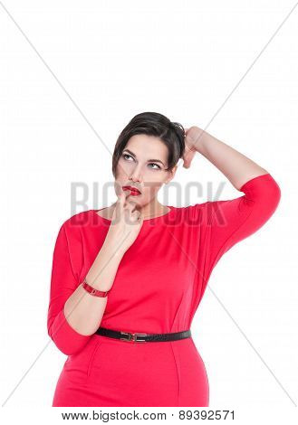 Confused Beautiful Plus Size Woman Scratching Her Head Isolated