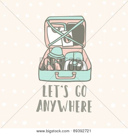 Lets go anywhere. Suitcase with clothes, flip flops, camera and guide.