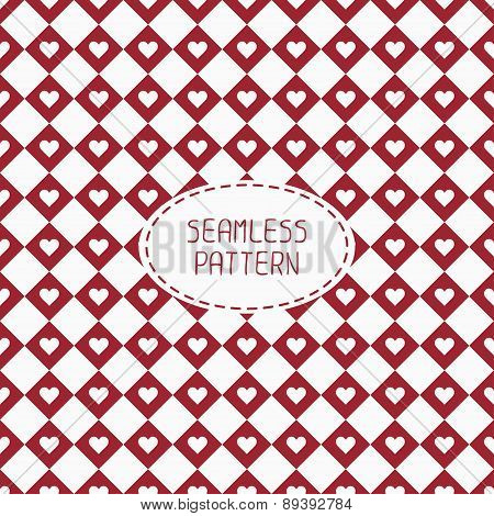 Red romantic wedding geometric seamless pattern with hearts. Wrapping paper. Scrapbook paper. Tiling
