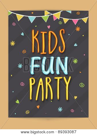 Stylish template, banner or flyer design for Kids Fun Party.