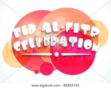 Stylish text Eid-al-Fitr on colorful abstract background for muslim community festival celebration, can be used as poster or banner.