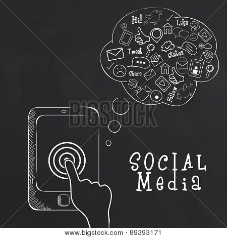 Networking and Communication concept with human hand working on tablet and collection of social media icons.