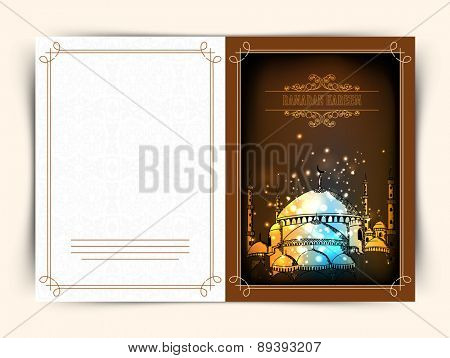 Creative greeting card design decorated with beautiful Islamic Mosque for holy month of Muslim community Ramadan Kareem celebration.