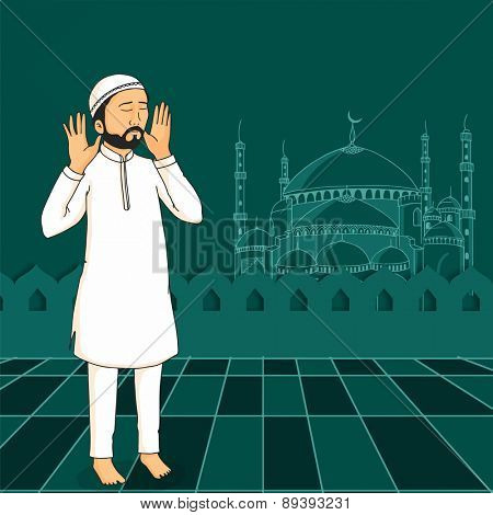 A Muslim man praying (reading Namaz, Islamic Prayer) on Mosque decorated green background for holy month Ramadan Kareem celebration.