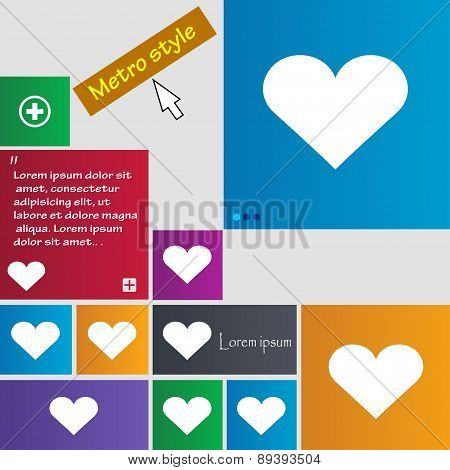 Heart, Love Icon Sign. Metro Style Buttons. Modern Interface Website Buttons With Cursor Pointer. Ve