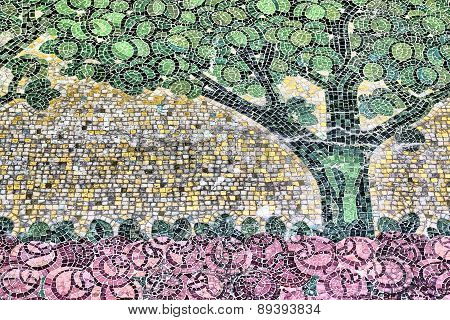 Detail Of An Ancient Mosaic, Tree And Rose Garden Of An Unknown Artist Of The 18Th Century