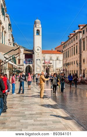 Many tourists visit the Old Town of Dubrovnik a UNESCO's World Heritage Site