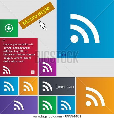 Wifi, Wi-fi, Wireless Network Icon Sign. Metro Style Buttons. Modern Interface Website Buttons With