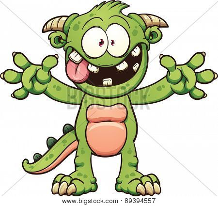 Green cartoon monster. Vector clip art illustration with simple gradients.Mouth and body parts on separate layers.