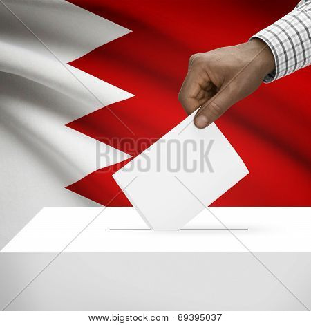 Ballot Box With National Flag On Background - Bahrain