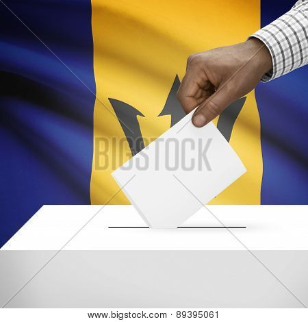 Ballot Box With National Flag On Background - Barbados