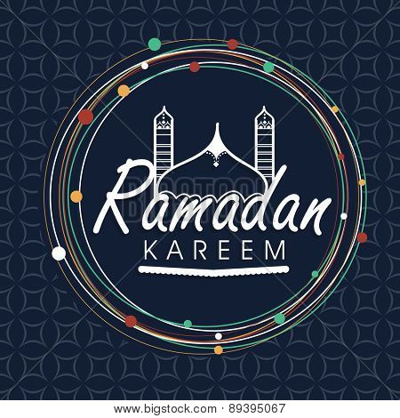 Stylish text Ramadan Kareem and mosque in a rounded frame for Islamic holy month of prayer celebration on seamless background.