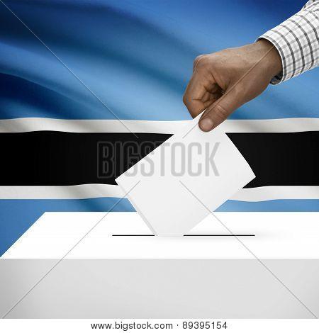 Ballot Box With National Flag On Background - Botswana