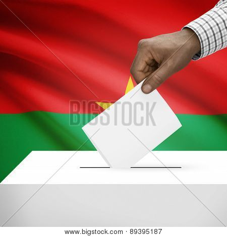 Ballot Box With National Flag On Background - Burkina Faso