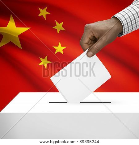 Ballot Box With National Flag On Background - People's Republic Of China