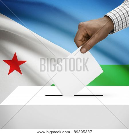 Ballot Box With National Flag On Background - Djibouti