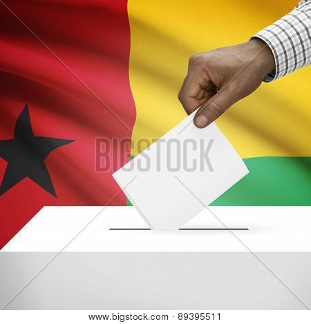 Ballot Box With National Flag On Background - Guinea-bissau